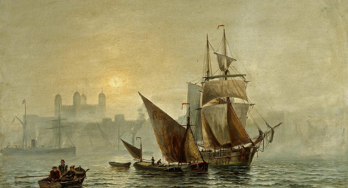 Charles_John_De_Lacy_-_Mist_in_port,_London